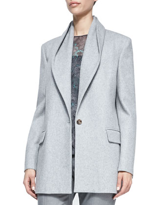 Draped-Collar 1-Button Coat