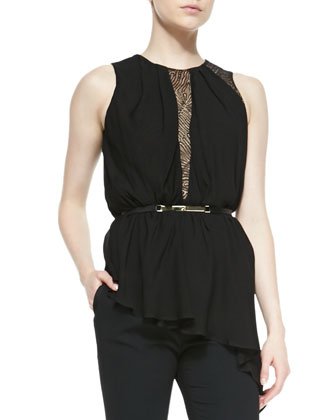 Asymmetric Jersey/Lace Sleeveless Top