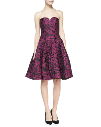 Strapless Jacquard Party Dress