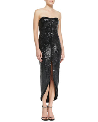 Sequined Faux-Wrap Strapless Dress