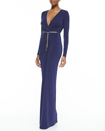 Surplice-Neck Long-Sleeve Gown