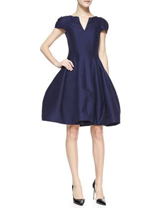 Tulip-Skirt Split-Neck Dress