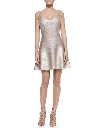 Flounce Skirt Bandage Dress, Rose Gold Combo