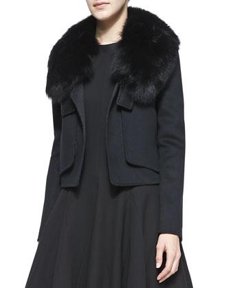 Fox Fur-Collar Cropped Jacket, Black