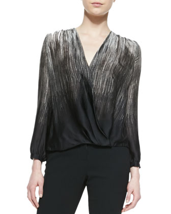 Printed Satin Wrap-Front Top