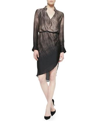 Silk Striped V-Neck Dress