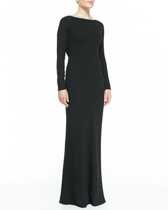 Beaded-Lace Back Boat-Neck Gown