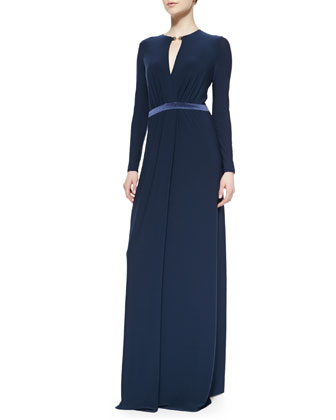 Deep-V Slit Long-Sleeve Jersey Gown
