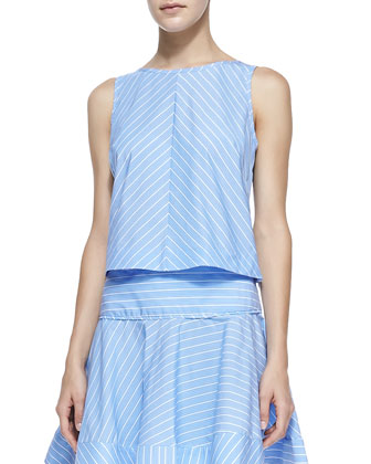 Gorton Striped Sleeveless Poplin Blouse