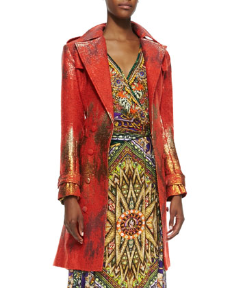 Metallic-Print Trench Coat