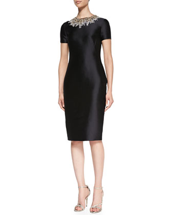 Short-Sleeve Beaded-Neck Cocktail Dress