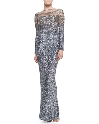 Long-Sleeve Ombre Sequin Gown