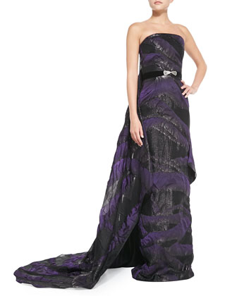 Strapless Belted Cascading-Train Gown