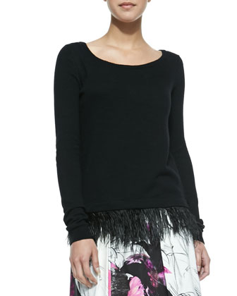 Ostrich Plume Pullover Sweater