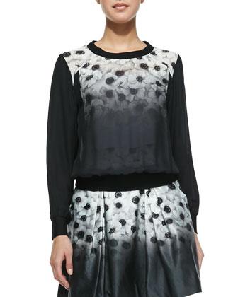 Camellia Silk-Overlay Sweatshirt