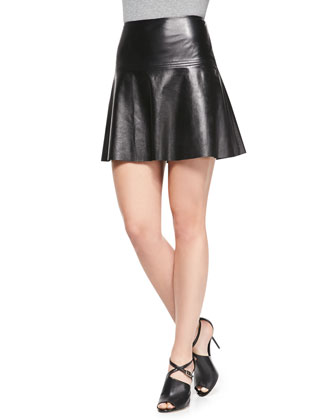 Emmy Flared Leather Skirt