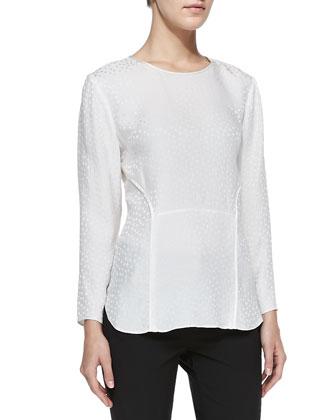 Silk Jacquard Long-Sleeve Tee, White