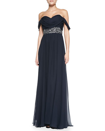Off-Shoulder Beaded-Waist Gown
