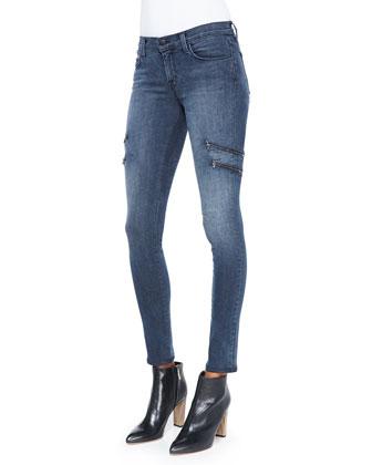 Dee Zipper-Leg Skinny Jeans, Vacant