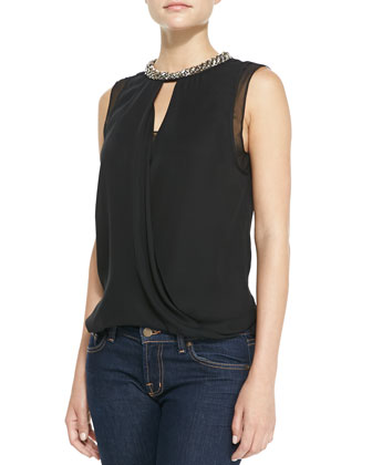 Bead-Neck Draped Georgette Top