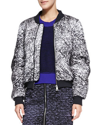 White Noise Patterned Flight Jacket