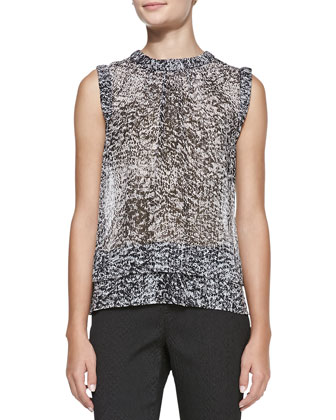 Sleeveless Double-Layer White Noise-Print Top