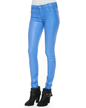 Gummy Skinny Denim Jeans, Coated Blue Topaz