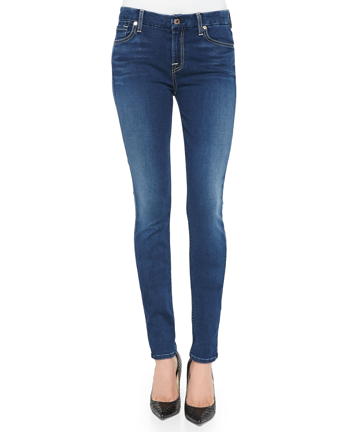7 For All Mankind Mid-Rise Skinny Jeans, Slim Illusion Luxe Brilliant Blue, Size: 26