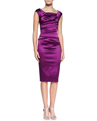 Cap-Sleeve Ruched Cocktail Dress