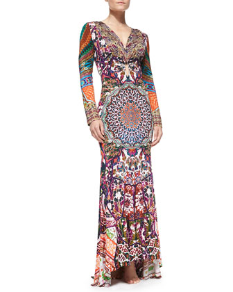 Keyhole-Front Beaded Printed Maxi Coverup