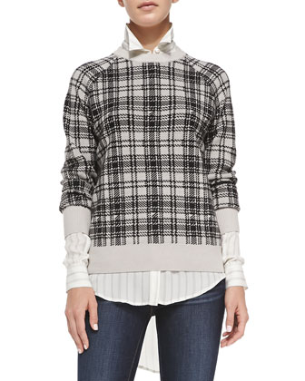 Merino Wool Plaid Sweater, Buff/Black
