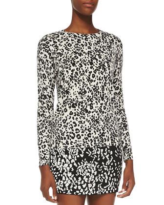 Crewneck Leopard Pullover Sweater