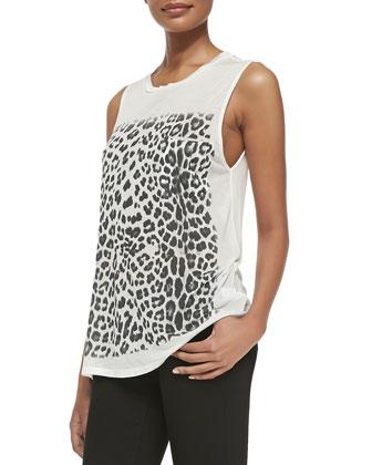 Leopard-Print Slub Muscle Tank
