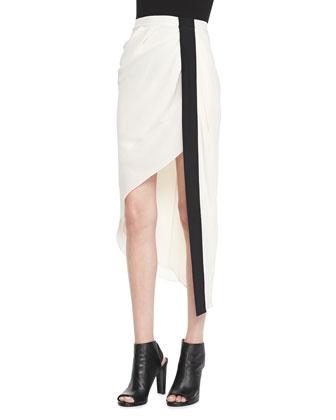 Tuxedo-Stripe Asymmetric Skirt