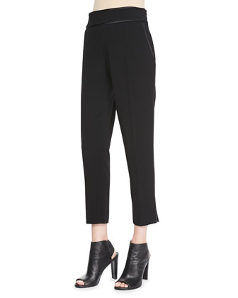 New Hayley Satin-Trim Crepe Pants