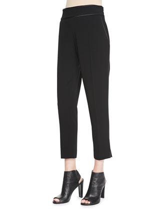 New Hayley Satin-Trim Crepe Pants