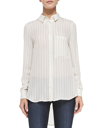 The CTA Silk Stripe Blouse, Antique Ivory/Dark Graphite