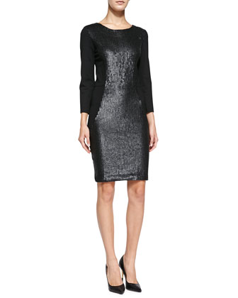 3/4-Sleeve Sequined-Front Sheath Dress