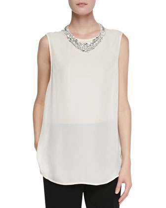 Sleeveless Blouse with Jeweled Collar