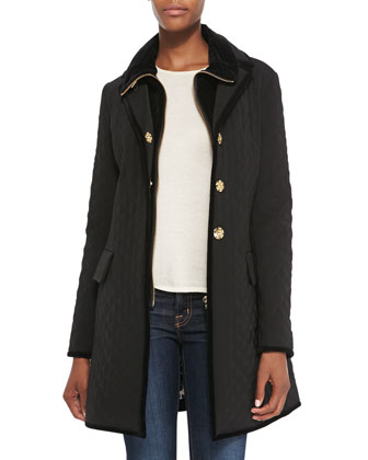 Quilted Velvet-Trim Boyfriend Rain Coat, Women's