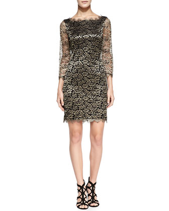 Zarita 3/4-Sleeve Metallic Lace Dress