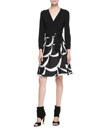 Amelia Printed Flared Wrap Skirt