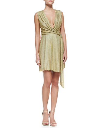 Metallic Jersey Faux-Wrap Dress