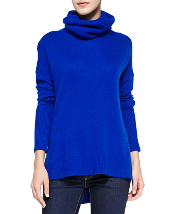 Ahiga High-Low Cashmere Turtleneck Sweater