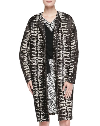 Long Printed Calf Hair Coat