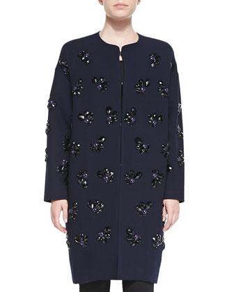 Long Jewel Flower Coat