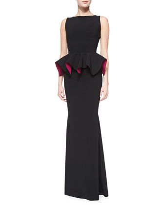 Eden Bicolor Peplum Mermaid Gown