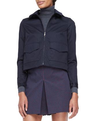Lane Back-Pleated Bifabric Jacket