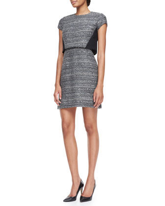 Deandra Crepe-Detail Tweed Sheath Dress