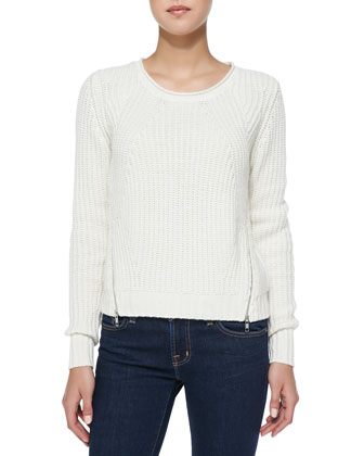 Shaker-Stitch Zipper-Hem Cashmere Sweater, Winter White
